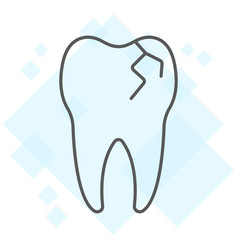 Cracked tooth thin line icon stomatology dental vector