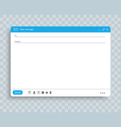 email window interface template mail message vector image