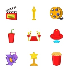 Film icons set cartoon style vector