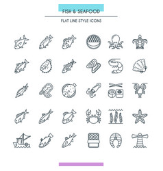 fish and seafood thin icons vector image