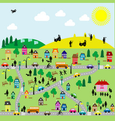 Flat countryside scene vector