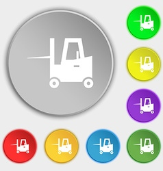 Forklift icon sign Symbol on eight flat buttons vector image
