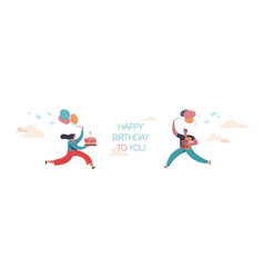 funny boy and girl carry a birthday cake and gifts vector image