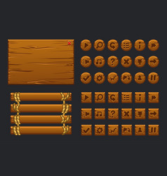 game ui big kit template wooden menu of vector image