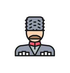 Georgian man in ethnic costume flat color line vector
