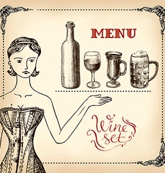 girl and wine - hand drawing vector image