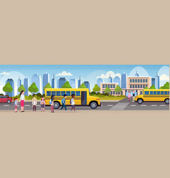 group of mix race children walking in yellow bus vector image