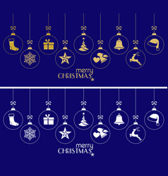 hanging christmas baubles christmas ornaments on vector image