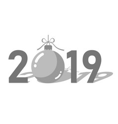 happe new year silver background isolated 2019 vector image