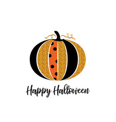 happy halloween greeting card glitter pumpkin vector image