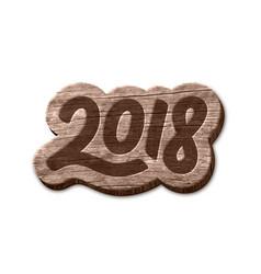 happy new year 2018 wood badge element vector image