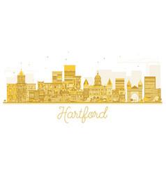 Hartford connecticut usa city skyline golden vector