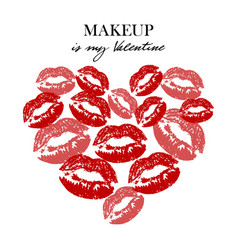 heart with lipsticks prints makeup is my vector image