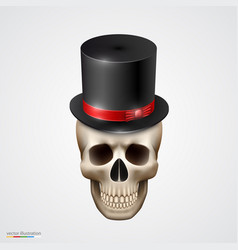 Human skull isolated with hat vector