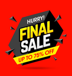 Hurry final sale banner poster background vector