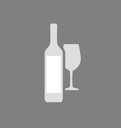 icon wine bottle with white label vector image