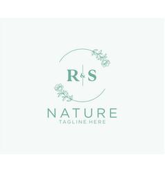 Initial rs letters botanical feminine logo vector
