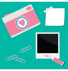 Instant photo sticker with tape paperclips pencil vector image