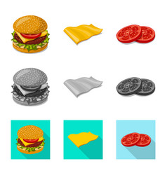 Isolated object of burger and sandwich icon set vector