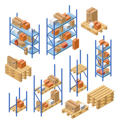 Isometric warehouse shelvings cardboard box vector