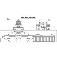 Israel haifa architecture line skyline vector