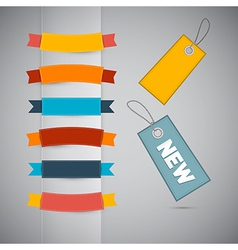 Labels Tags Ribbons Set in Retro Colors vector image