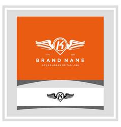 Letter k pin map wing logo design concept vector