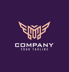 letter m logo with wings luxury elegant design vector image