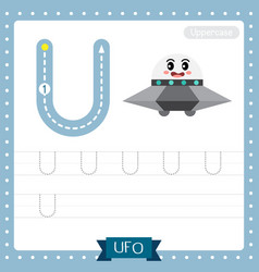 Letter u uppercase tracing practice worksheet ufo vector