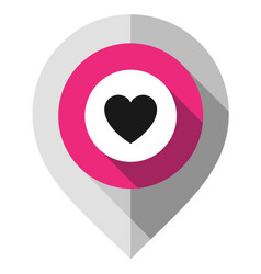 map pin symbol heart gps pointer folded from vector image