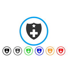 medical insurance shield rounded icon vector image