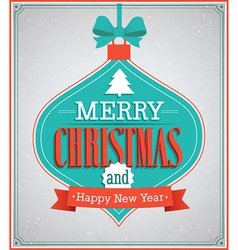 Merry Christmas paper card with hanging toy vector image