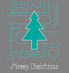 merry christmas techno line art bakcground vector image