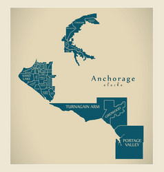 modern city map - anchorage alaska city of the vector image