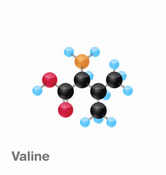 molecular omposition and structure of valine val vector image