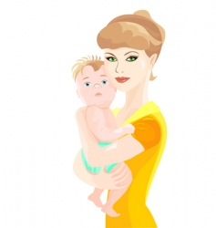Mother hugs baby son vector
