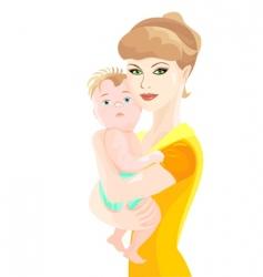 Mother hugs bason vector