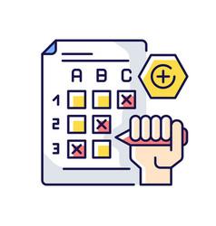 Multiple choice exam rgb color icon vector
