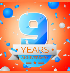 nine years anniversary celebration vector image