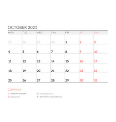 October 2021 monthly calendar planner printable vector