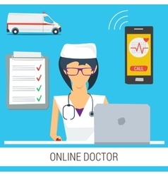 Online Doctor Consultation Concept vector image
