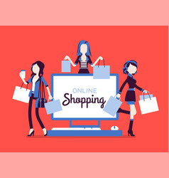 online shopping banner with happy women vector image