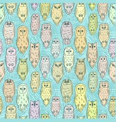 Owls seamless pattern vector