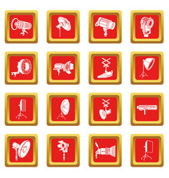 photography icons set red square vector image