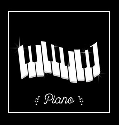 Piano keys in frame on a black background vector