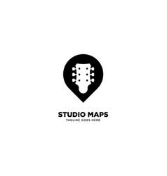 Pin map studio music logo template icon element vector