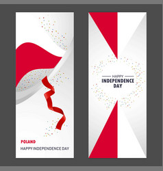 Poland happy independence day confetti vector