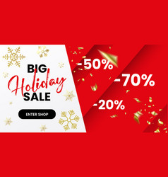 red christmas sale banner geometric horizontal vector image