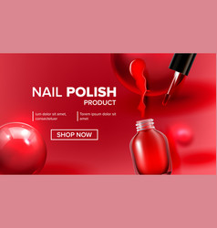 red nail polish product vial landing page vector image