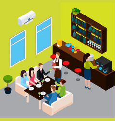 restaurant isometric composition vector image